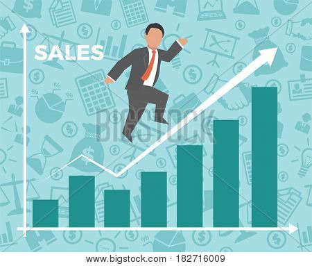 Business man jump over growth graph. Concept business vector illustration.