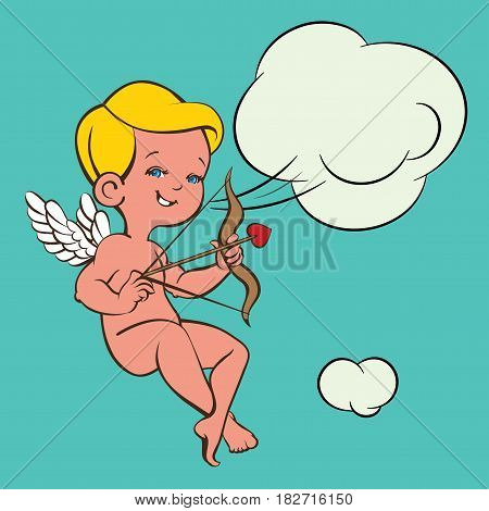 Cute happy merry  smiling  archer cupid.  Amur  with bow and arrow. And speech balloon.  Line and color design with background. Good for wedding invitation, romantic card, postcard.