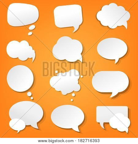 Orange Paper Speech Bubble