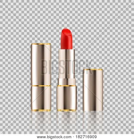 Lipstick cosmetics in package design mock-up realistic style isolated on Transparent background Vector Illustration. Cosmetics, Fashion Beauty Make Up brand for your projects.