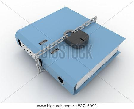 Data Safety, Folder Locked With  Chain. Rendered Illustration