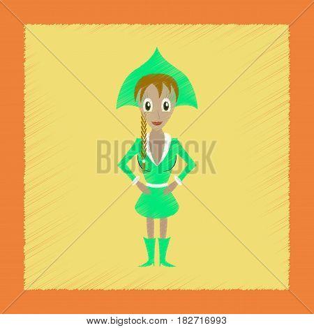 flat shading style icon of Christmas girl