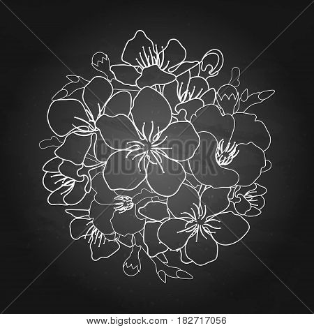 Graphic sakura flowers in the shape of circle. Traditional symbol of spring in Japan. Vector floral vignette isolated on the chalkboard