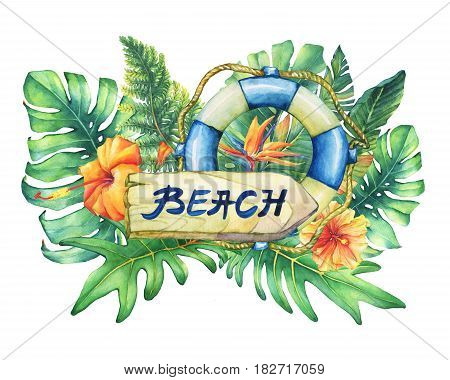 Composition with lifebuoy, nameplate, flowers and tropical plants. Hand drawn watercolor painting on white background.