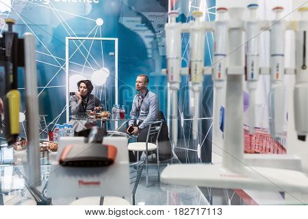 Moscow, Russia - April 11, 2017: 15th International Exhibition of Laboratory Equipment and Chemical Reagents Analytics Expo . Modern technologies in medical equipment
