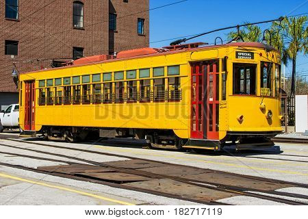 Line streetcar station in Ybor City a historic neighborhood in Tampa Florida United States