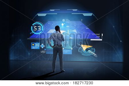 business, people, technology and innovation concept - businessman looking at gps navigator map on virtual screen over dark background from back