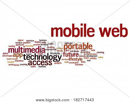 Concept or conceptual mobile web portable multimedia technology abstract word cloud isolated on background