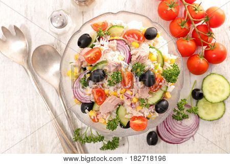 rice salad with tuna,tomato and olive