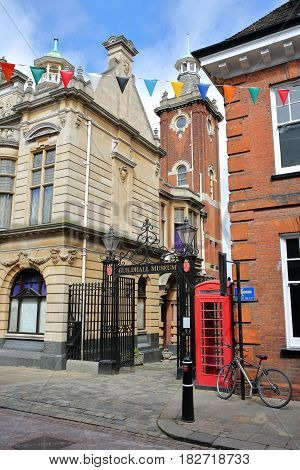 ROCHESTER, UK - APRIL 14, 2017: The entrance to The Guildhall Museum