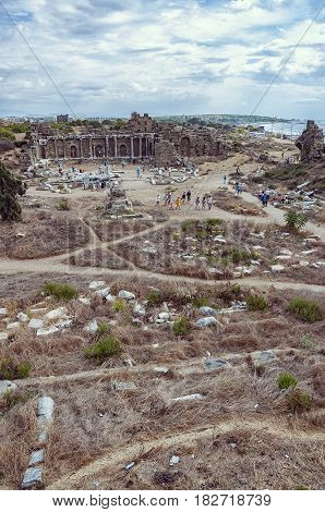 An elevated view of the ancient roman State Agora ruins situated in the turkish town of Side.