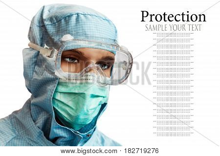 Mannequin in medical mask and suit isolated on white background. Text delete
