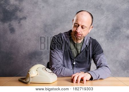 Man Waiting For A  Important Phone Call