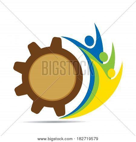 men together with cog wheel concept design