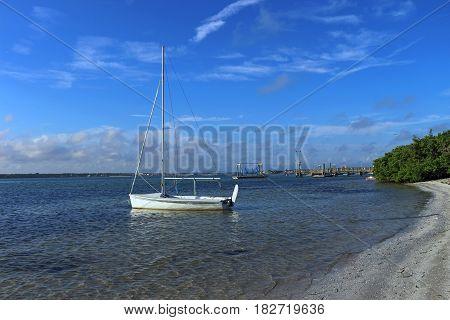 Sailboat anchored near the shore in Tampa Bay Florida