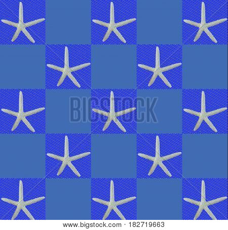 Abstract blue illustration with starfish in squares
