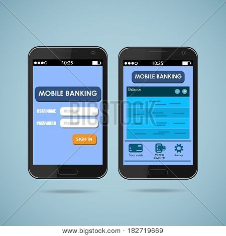 Smart phones with mobile banking interface vector
