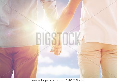 people, homosexuality, same-sex marriage, gay and love concept - close up of happy male gay couple holding hands from back over sky and sun background
