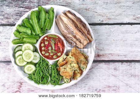 Spicy Shrimp Paste Dip As Nam Prik Kapi