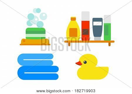 Bath equipment icons made in modern shower flat style colorful clip art illustration for bathroom interior hygiene design. Isolated vector symbols of sink shower soap towel faucet.