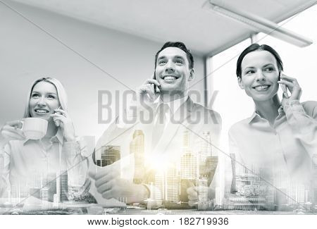 communication, technology and people concept - smiling business team with smartphones making calls at office over city buildings and double exposure effect