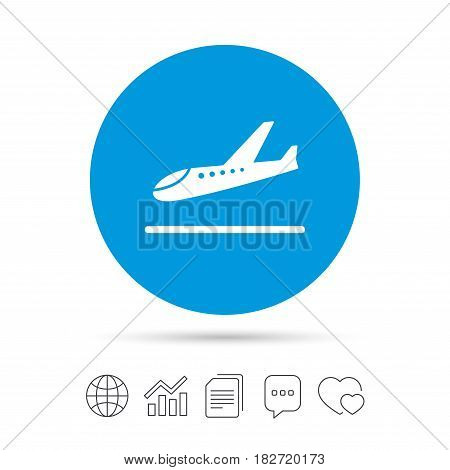 Plane landing icon. Airplane transport symbol. Copy files, chat speech bubble and chart web icons. Vector
