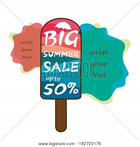 big summer sale heading poster design using colorful ice cream