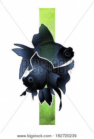 Graphic couple of telescope fish drawn with green abstract stripe on background. Vector freshwater isolated creature. T-shirt print or tattoo design