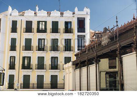 Madrid (Spain): historic buildings near Plaza Mayor. Mercado de San Miguel