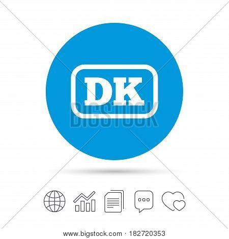 Denmark language sign icon. DK translation symbol with frame. Copy files, chat speech bubble and chart web icons. Vector