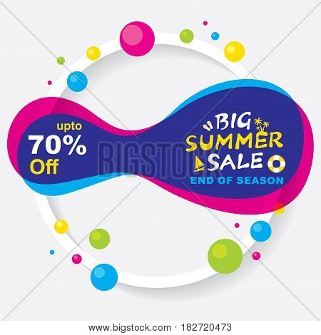 big summer sale banner design with colorful abstract shape and small shape