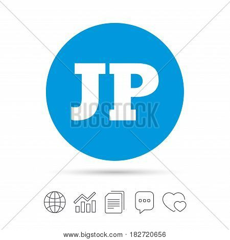 Japanese language sign icon. JP Japan translation symbol. Copy files, chat speech bubble and chart web icons. Vector