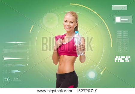 fitness, sport, exercising, slimming and people concept - smiling sporty woman with bottle of water and towel over green background