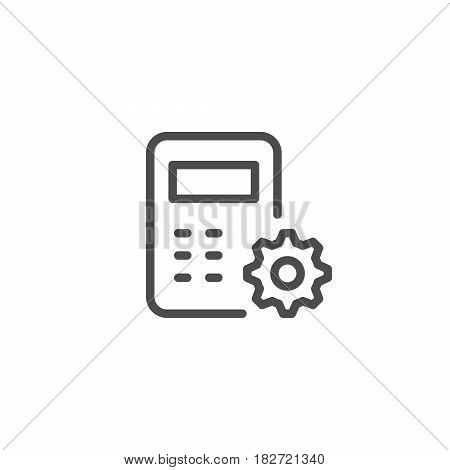 Technical calculation line icon isolated on white. Vector illustration