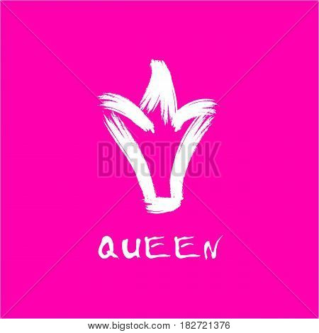 Painted with a brush crown of the queen in grunge style white on an isolated pink layer.