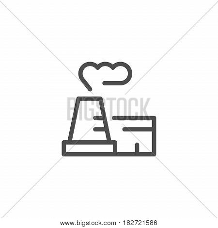 Industrial plant line icon isolated on white. Vector illustration
