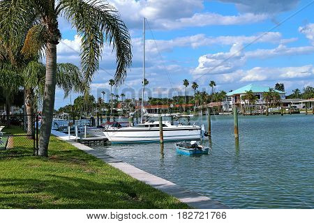 Pier and Boats in Way Islands Clearwater Bay Tampa Florida