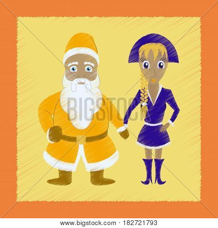 flat shading style icon of Santa Claus and girl