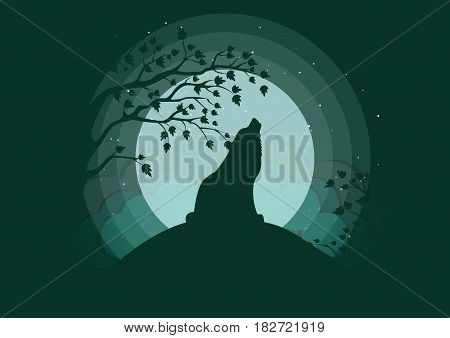Stylish vector illustration. Silhouette of a wolf howling to the moon. Clubs of fog, clouds, starry sky, outlines of trees.