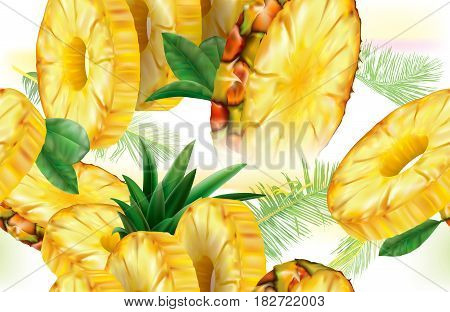Background slices pineapple fruits with leaves. Vector