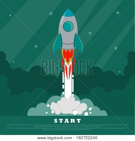Concept of Start up. The space rocket flies into space. Starry sky on the background. Conceptual image. Place for your text.Vector illustration in Flat design.