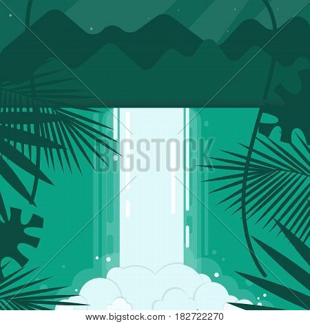 A conceptual image of a waterfall in a flat style. Emerald, blue, green tones. Mountains in the background and the night starry sky. In the foreground are tropical plants. Vector illustration.