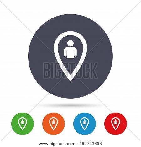 Map pointer user sign icon. Person location marker symbol. Round colourful buttons with flat icons. Vector