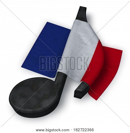 music note symbol and flag of france - 3d rendering