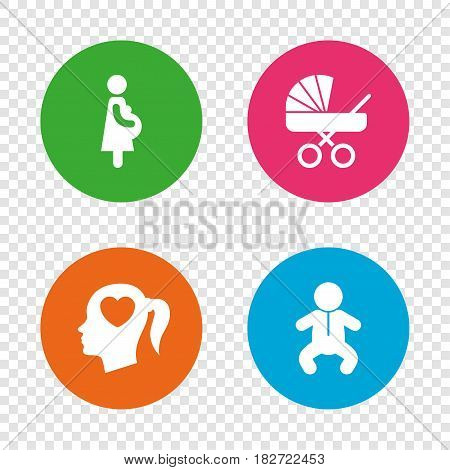 Maternity icons. Baby infant, pregnancy and buggy signs. Baby carriage pram stroller symbols. Head with heart. Round buttons on transparent background. Vector