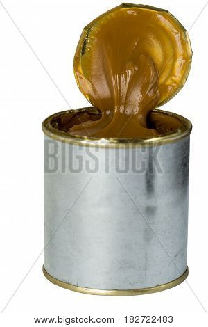 Can of boiled sweetened condensed milk isolated on white background