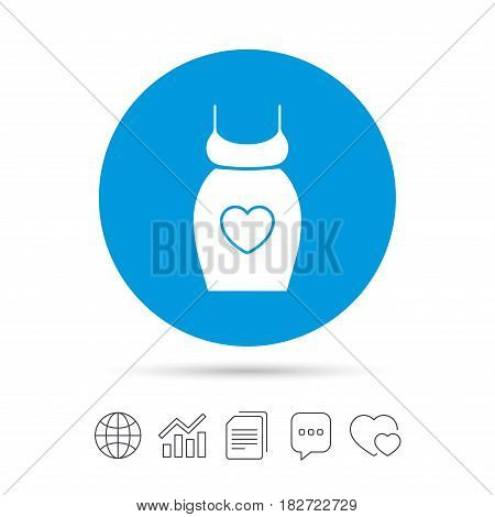 Pregnant woman dress sign icon. Maternity with heart clothing symbol Copy files, chat speech bubble and chart web icons. Vector
