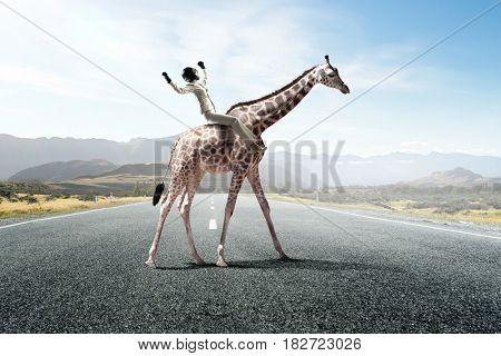 Businesswoman riding giraffe. Mixed media . Mixed media