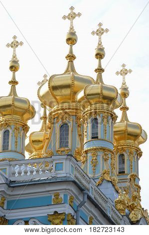 Golden domes of Summer Palace in Saint-Petersburg Russia