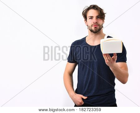 Caucasian Sexy Young Macho Holding Male Box